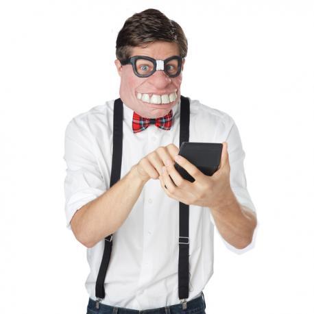 Media máscara de empollón de la clase para hombre - Imagen 1