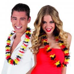 Collar hawaiano tricolor rojo, amarillo y negro - Imagen 1