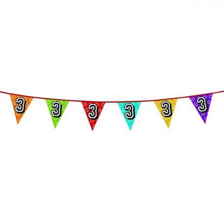 Banderines con número 3 - Imagen 1