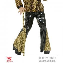 Pantalón acampanado de vinilo negro y leopardo - Imagen 1