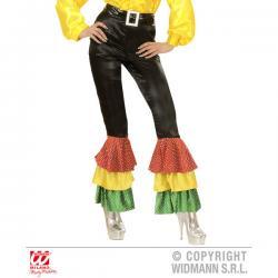 Pantalón negro de raso con lentejuelas para mujer talla grande - Imagen 1