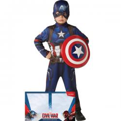 Disfraz de Capitán América Civil War con escudo para niño en caja - Imagen 1