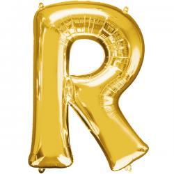 Globo letra R dorado - Imagen 1