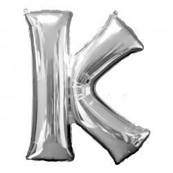 Globo letra K plateado - Imagen 1