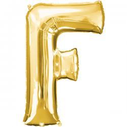 Globo letra F dorado - Imagen 1
