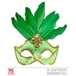 Antifaz veneciano verde con lentejuelas y plumas - Imagen 1