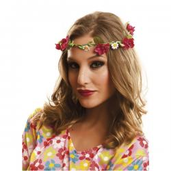 Corona hippie de flores rojas - Imagen 1