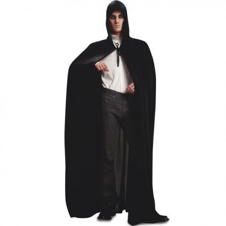 Capa con capucha de terciopelo negro para hombre - Imagen 1