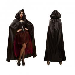 Capa negra brillante con capucha para adulto - Imagen 1