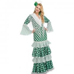 Disfraz de flamenca verde para mujer - Imagen 1
