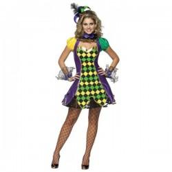 Disfraz de bufón Mardi Gras para mujer - Imagen 1
