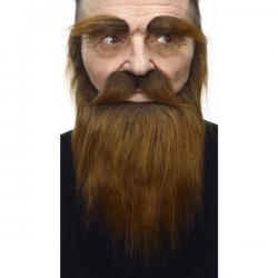 Kit de vello facial castaño para adulto - Imagen 1