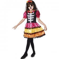 Disfraz de novia Catrina para niña - Imagen 1