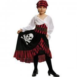 Disfraz de corsaria calavera para niña - Imagen 1
