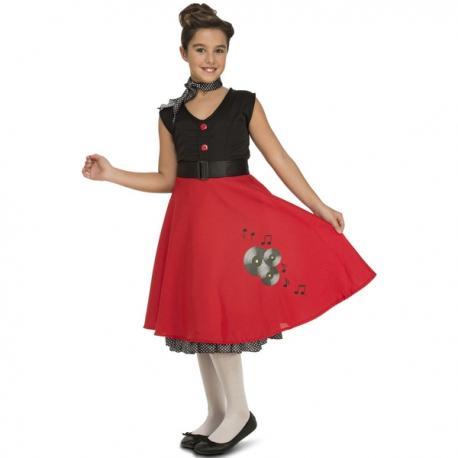 Disfraz de chica de los 50 elegante para niña - Imagen 1