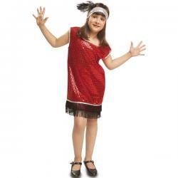 Disfraz de charlestón rojo con flecos negros para niña - Imagen 1