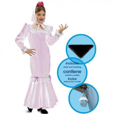Disfraz de chulapa blanco infantil - Imagen 1