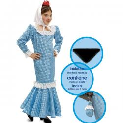 Disfraz de chulapa azul infantil - Imagen 1
