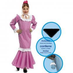 Disfraz de chulapa rosa para niña - Imagen 1
