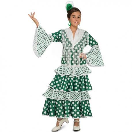 Disfraz de flamenca verde para niña - Imagen 1