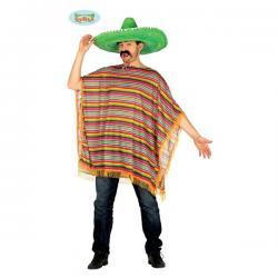 Poncho mejicano colorido para adulto - Imagen 1