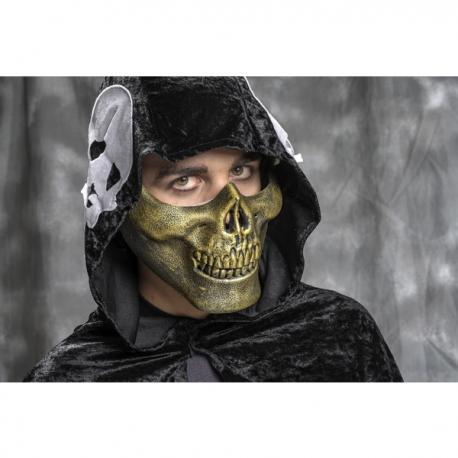 Media máscara de esqueleto dorado para adulto - Imagen 1