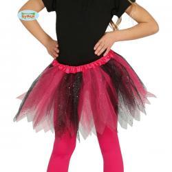 Tutú rosa y negro con brillantina para niña - Imagen 1