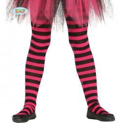 Pantys de bruja de rayas negras y rosas para niña - Imagen 1