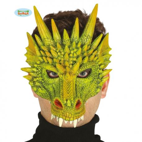 Media máscara de dragón verde de foam para adulto - Imagen 1