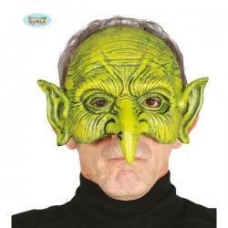 Media máscara de brujo verde de foam para adulto - Imagen 1