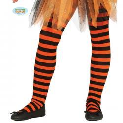 Pantys de bruja de rayas negras y naranjas para niña - Imagen 1