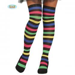 Medias de bruja de rayas multicolor para mujer - Imagen 1