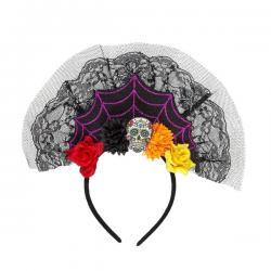 Diadema con velo de día de los muertos para mujer - Imagen 1