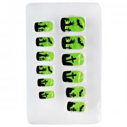 Uñas de cementerio florescente adhesivas para mujer - Imagen 1