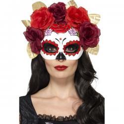 Antifaz de Catrina con flores rojas y granates para mujer - Imagen 1