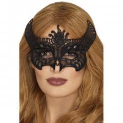Antifaz de demonio negro bordado para mujer - Imagen 1