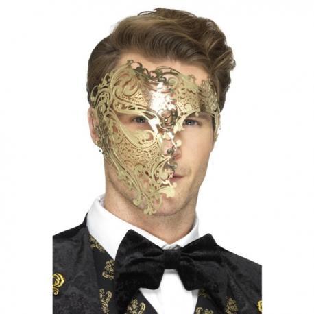 Media máscara de fantasma de la ópera dorada para hombre - Imagen 1
