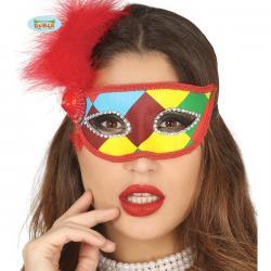 Antifaz de arlequín multicolor con pluma roja para adulto - Imagen 1