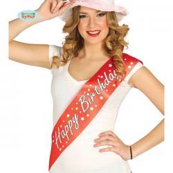 Banda Happy Birthday roja para adulto - Imagen 1