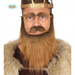 Barba con bigote y cejas de Vikingo castañas para hombre - Imagen 1