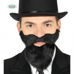 Barba y bigote negra adhesiva para hombre - Imagen 1