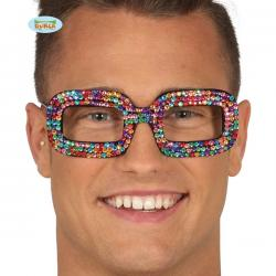 Gafas hippies multicolor con brillantes incrustados - Imagen 1