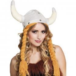 Casco de Vikingo blanco con trenzas para adulto - Imagen 1