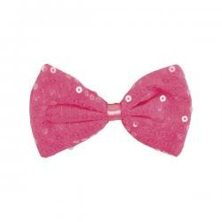 Pajarita rosa con lentejuelas para adulto - Imagen 1