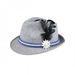 Sombrero de bávaro azul con pluma y edelweiss para hombre - Imagen 1