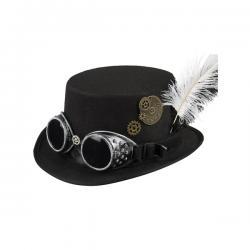 Sombrero de copa negro con gafas y plumas steampunk para adulto - Imagen 1