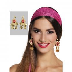 Pendientes de gitana buganvilla para mujer - Imagen 1