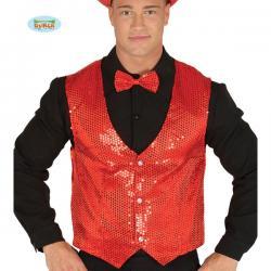 Chaleco de lentejuelas rojo elegante para hombre - Imagen 1