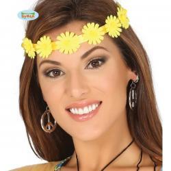 Cinta para el pelo de flores amarillas hippies - Imagen 1