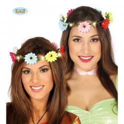 Corona de flores multicolor con luz - Imagen 1